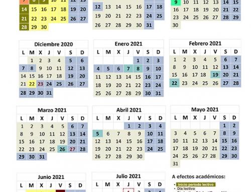 Calendario escolar curso 2020-2021.